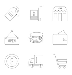 Market icons set outline style vector image vector image
