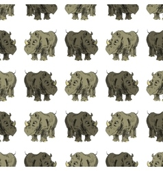Seamless African Rhinoceros Animal Pattern vector image