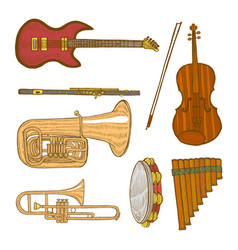 set of musical instruments in hand-drawn style vector image