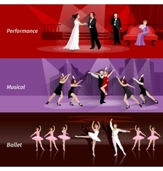Theater People Horizontal Banners Set vector image