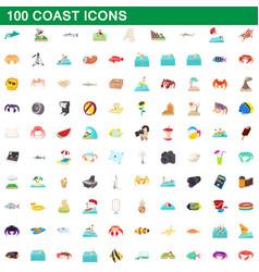100 coast icons set cartoon style vector image vector image