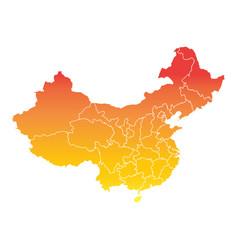 china map colorful orange on white background vector image vector image