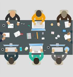 group of business people working for office desk vector image vector image