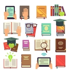Library books reading flat icons vector image vector image
