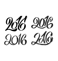 New Year 2016 hand lettering design set vector image