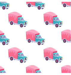 seamless pattern with color sweet truck isolated vector image