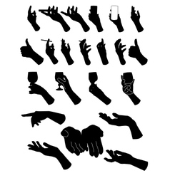 Set of silouette hands hand holding objects vector