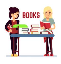 teenager girl reading books - self-education vector image