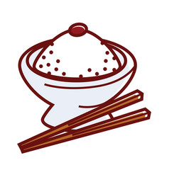 Umeboshi rice in big bowl with wooden chopsticks vector