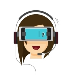 Virtual reality glasses and woman head isolated on vector image