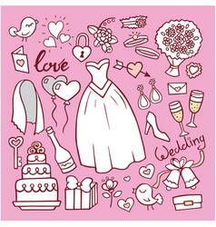wedding fashion bride dress doodle style vector image