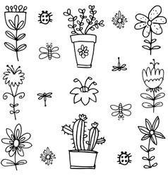 Doodle of spring flower black white vector