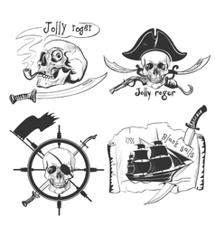 Labels pirate theme hand drawing vector image vector image