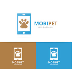 paw and phone logo combination pet and vector image vector image
