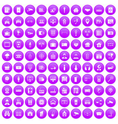 100 camera icons set purple vector