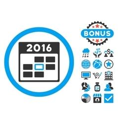 2016 Calendar Day Flat Icon with Bonus vector image