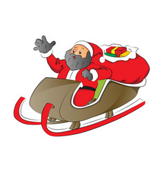 a santa with shocked expression in sledge vector image
