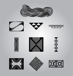 African cultural symbolic ornaments set vector
