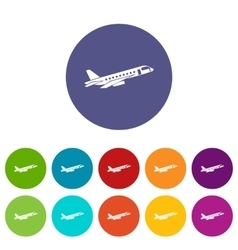 Airplane taking off set icons vector