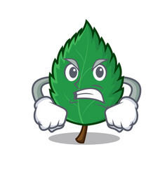 Angry mint leaves mascot cartoon vector