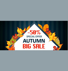 autumn special offer sale banner horizontal vector image