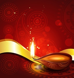 beautiful hindu diwali diya festival art vector image