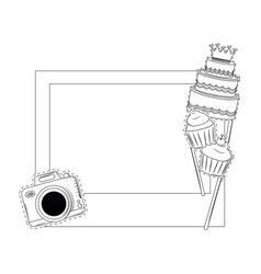 birthday photo booth prop black and white vector image