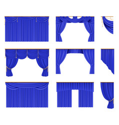 Blue curtains set realistic cinema and theater vector