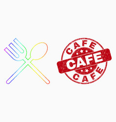 Bright pixel spoon and fork icon and grunge vector