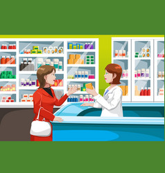 buying medicine in pharmacy vector image