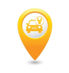 car with tool icon map pointer yellow vector image