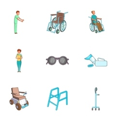 Care and accessibility icons set cartoon style vector