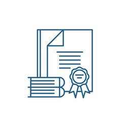 Certification process line icon concept vector
