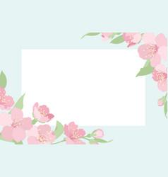 cherry sakura tree blossom template corner frame vector image