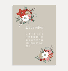 christmas greeting card invitation with december vector image