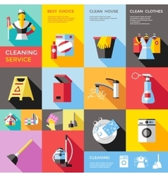 Cleaning Service Decorative Flat Icons Set vector