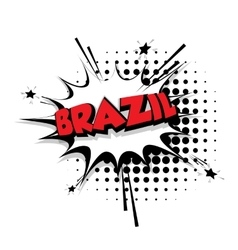 Comic text Brazil sound effects pop art vector image