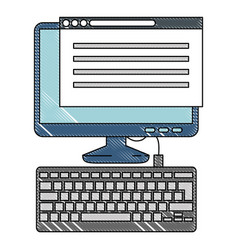 Computer desktop with webpage template vector