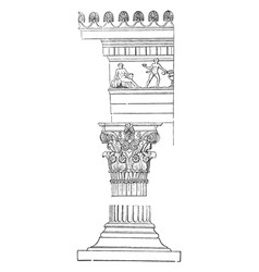 Corinthian order shaft vintage engraving vector