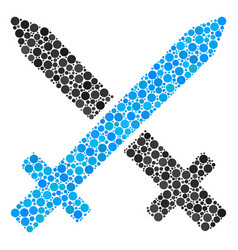 Crossing swords composition of dots vector