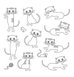 Cute cats digital stamps vector