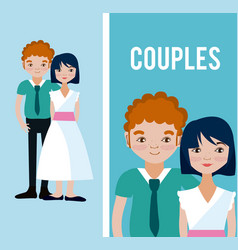 cute couples cartoons vector image