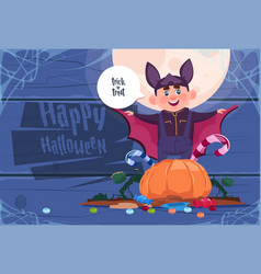 cute kid wear bat costume happy halloween banner vector image