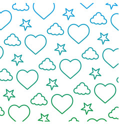 degraded line heart and cloud with bright star vector image