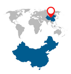 detailed map of china and world map navigation vector image vector image