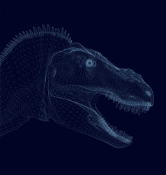 Dinosaur head wireframe from blue lines isolated vector
