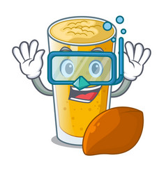 Diving lassi mango in a cartoon bottle vector