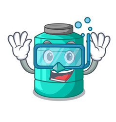 Diving plastic cartoon water tank in the outdoors vector