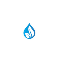 Droplet water eco leaf nature logo vector