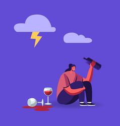 drunk woman bipolar disorder alcohol addiction vector image